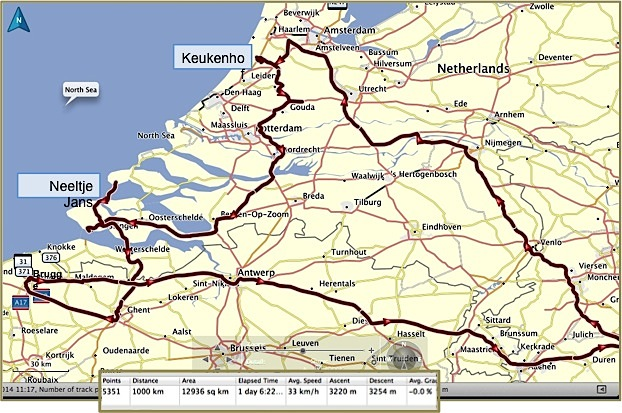 Roundtrip route from Köln. 1000km in 1 day 6:22 hours. There's just so much to see