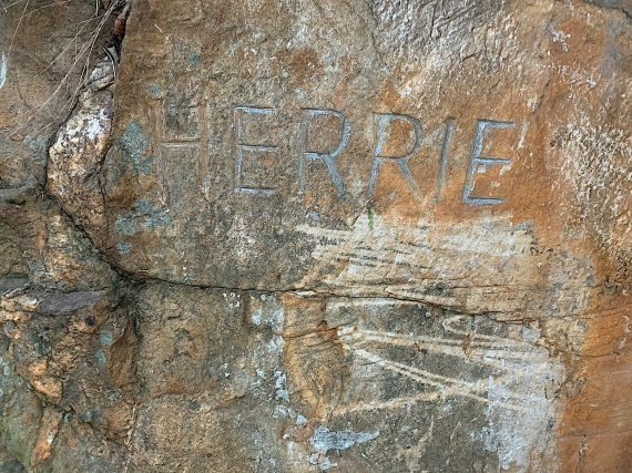 CJ Langenhoven himself carved his imaginary elephant's name on this rock in Meiringspoort